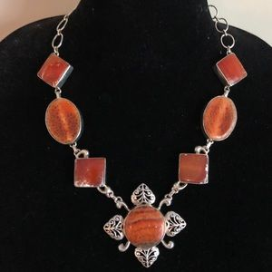Sterling 925 Mexican orange Fire Agate Necklace
